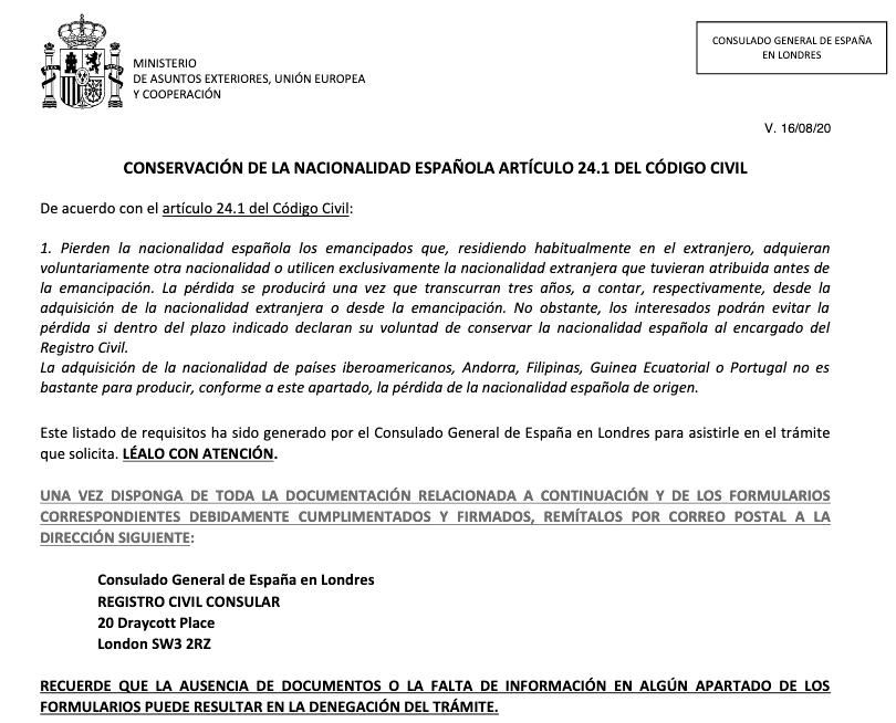 solicitud conservacion nacionalidad espanola